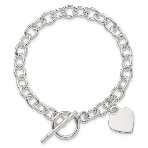 7.25in Dangling Heart Charm Bracelet - Sterling Silver
