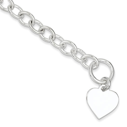 7.5in Heart Link Bracelet -  Sterling Silver