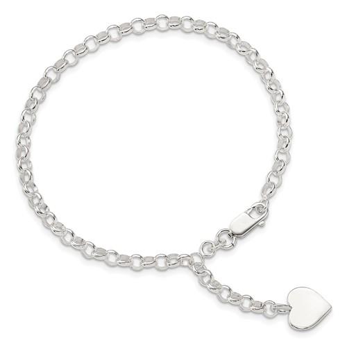 7.5in Heart Charm Rolo Bracelet - Sterling Silver