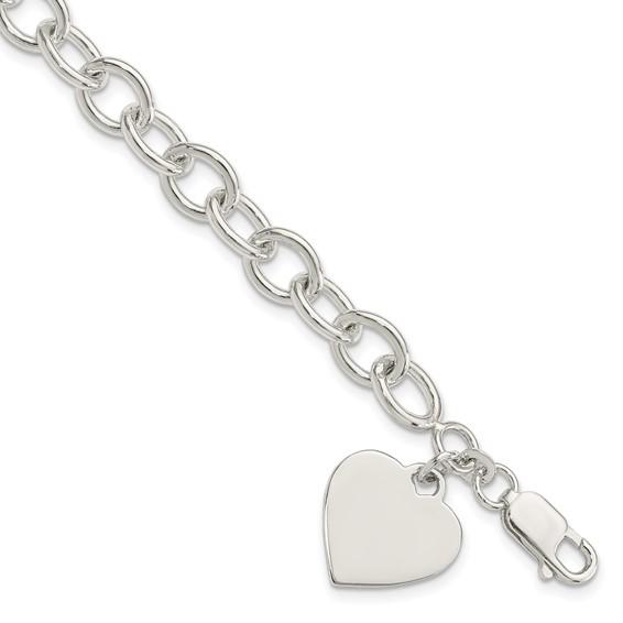 7.25in Heart Link Bracelet - Sterling Silver