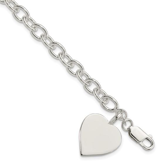 7.25in Jumbo Heart Bracelet - Sterling Silver