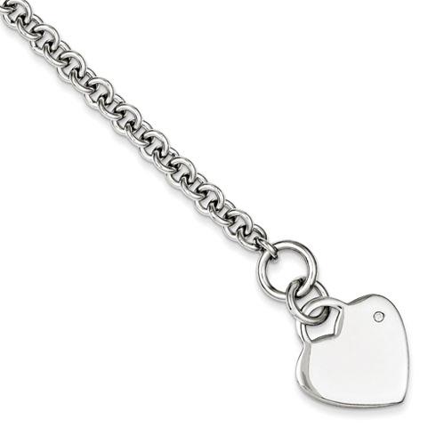 7.5in Diamond Heart Bracelet - Sterling Silver
