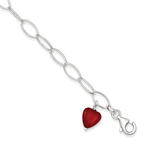 Sterling Silver Red Crystal Heart Link Bracelet 7.5in