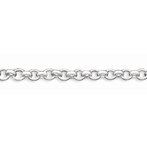 Sterling Silver 7 1/4in Hollow Link Bracelet