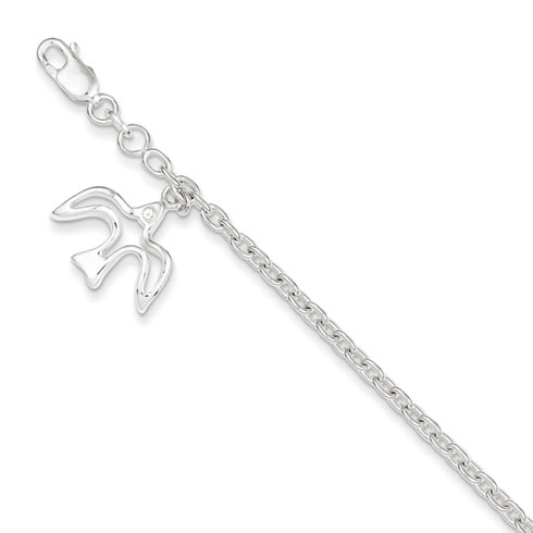 Sterling Silver Dove Charm Confirmation Bracelet