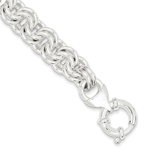 Sterling Silver 7.25in Double Circle Link Bracelet