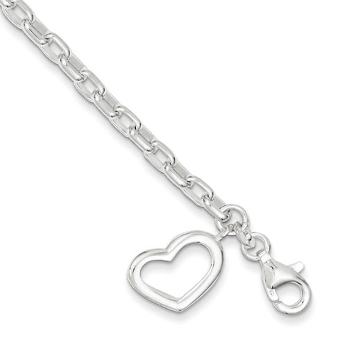 7in Small Oval Rolo Link with Heart Bracelet - Sterling Silver