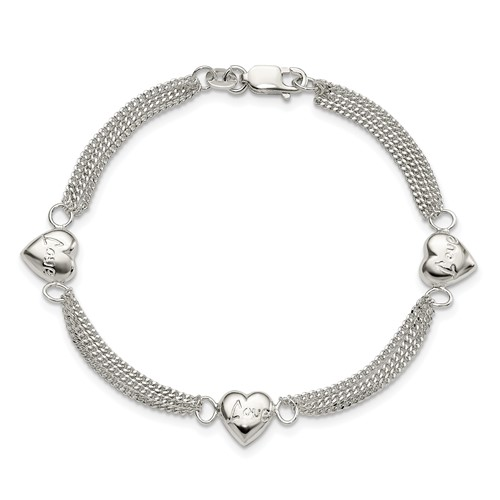 7in Sterling Silver Heart with Love Bracelet