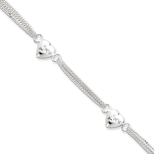 7in Sterling Silver Heart with Love Bracelet