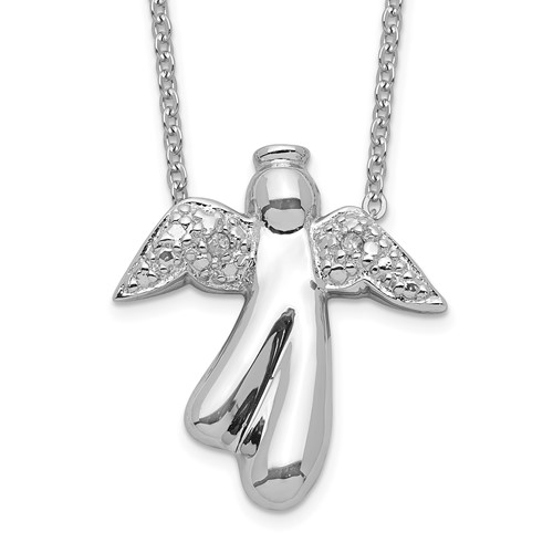 Sterling Silver Diamond Angel Necklace