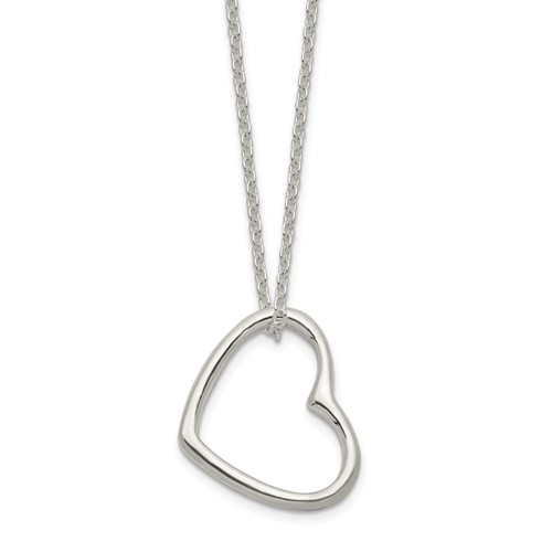Outline Heart Pendant Necklace Small Sterling Silver