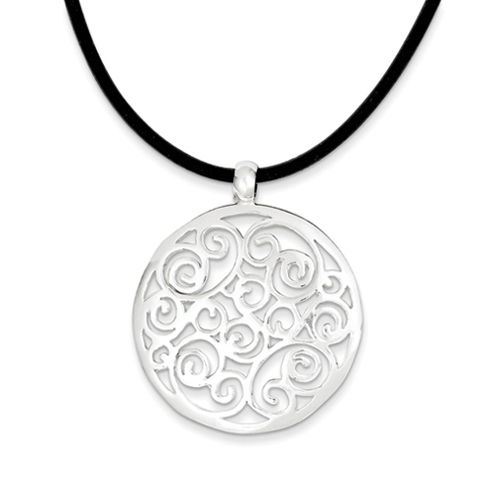 Sterling Silver Round Scroll Design Pendant on 18in Rubber Cord