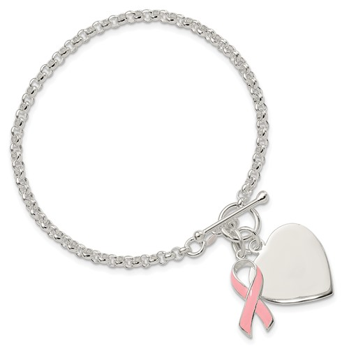 7.5in Sterling Silver Heart with Pink Ribbon Bracelet