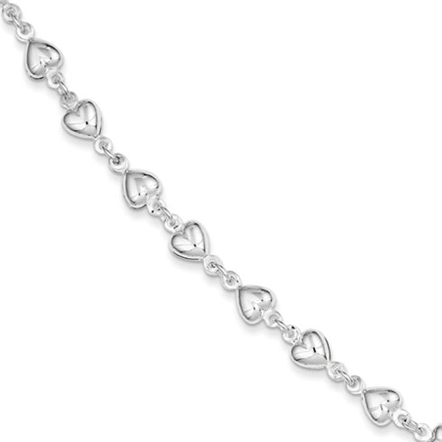 7in Heart Bracelet -  Sterling Silver