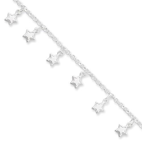 Sterling Silver 7in Stars Charm Bracelet