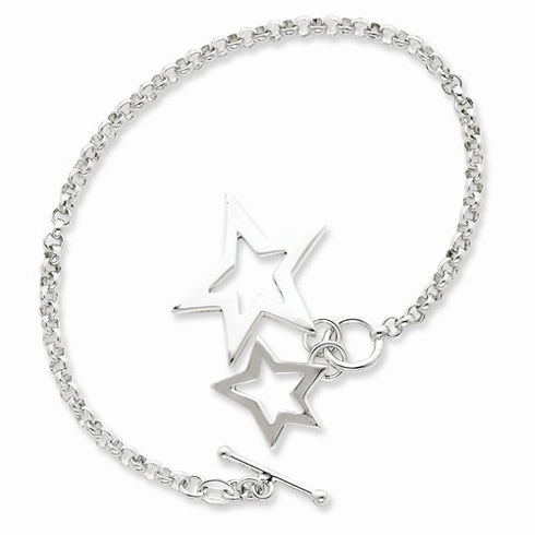 Sterling Silver 7in Star Duo Charm Bracelet