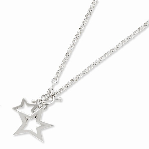 Sterling Silver Star Duo 16in Necklace