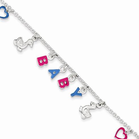 Sterling Silver 6in Adjustable Enameled BABY Charm Letters Bracelet