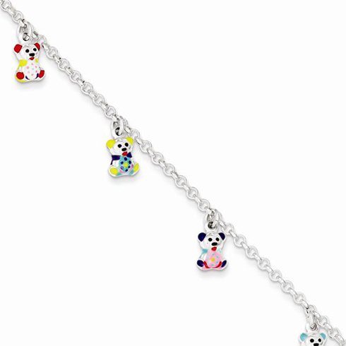 Sterling Silver 6in Baby Enameled Bears Charm Bracelet