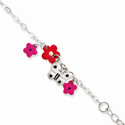 Sterling Silver 6in Red and Magenta Butterflies Baby Charm Bracelet