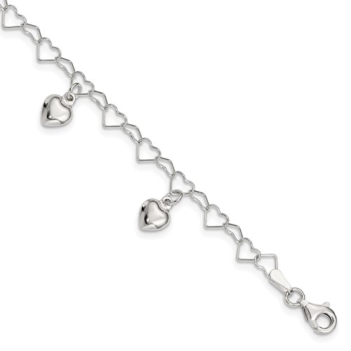Sterling Silver 6in Dangling Heart Bracelet