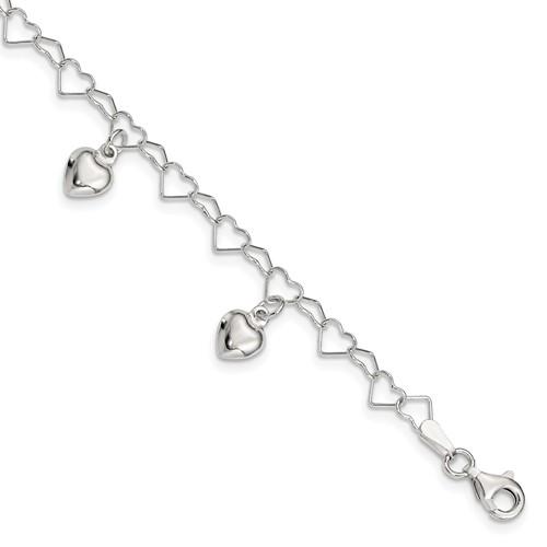 Sterling Silver 6in Dangling Heart Bracelet