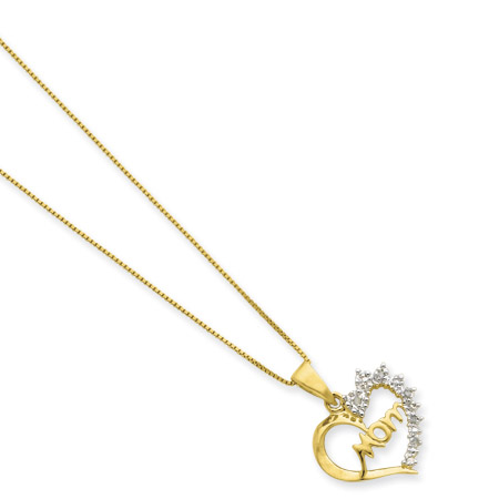 Sterling Silver and Vermeil Diamond Mom 16in Necklace