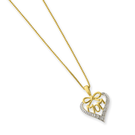 16in Vermeil Petite Diamond MOM Bow Necklace
