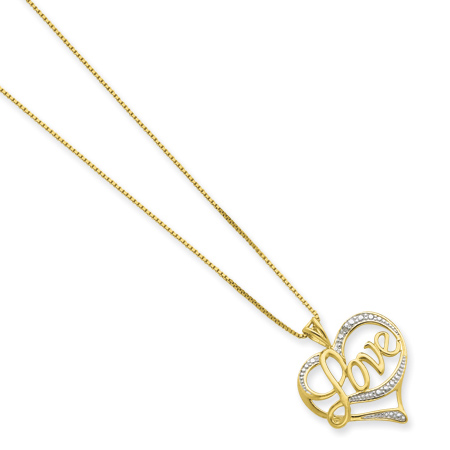 Sterling Vermeil Diamond Love 16in Necklace