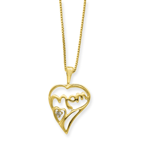 16in Vermeil Petite Diamond MOM Necklace