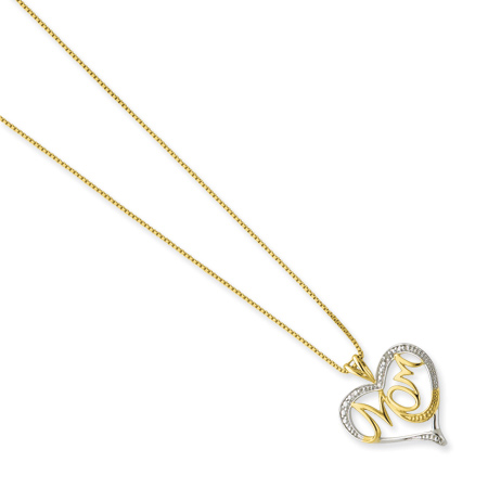 Sterling Silver and Vermeil 16in Diamond MOM Necklace