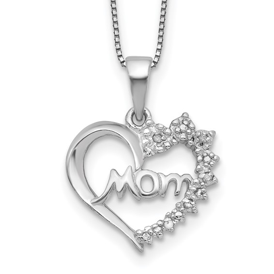 16in Sterling Silver Diamond Mom Necklace