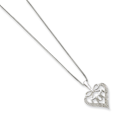16in Sterling Silver Petite Diamond MOM Bow Necklace