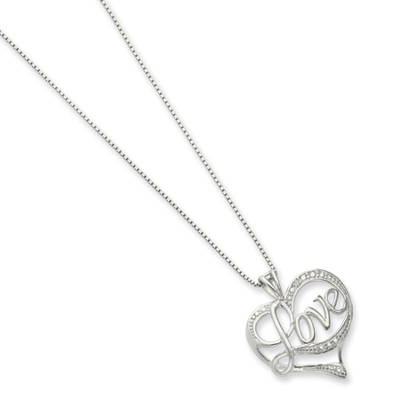 Sterling Silver Diamond Heart Love 16in Necklace