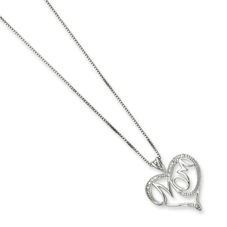 Sterling Silver Diamond Heart MOM 16in Necklace
