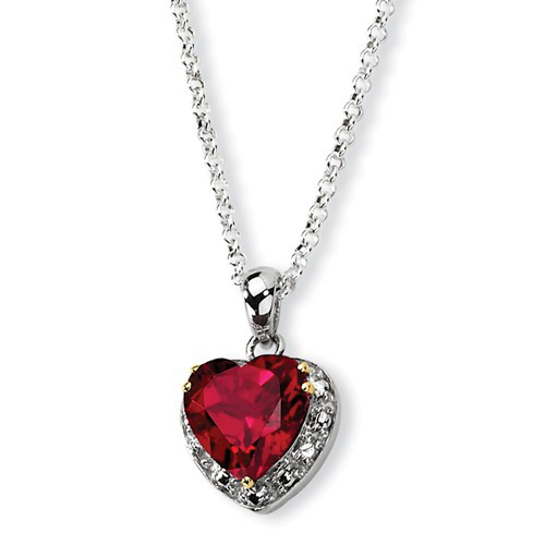 Silver 3.2 ct Passion Red Quartz Heart Pendant on 18in Necklace