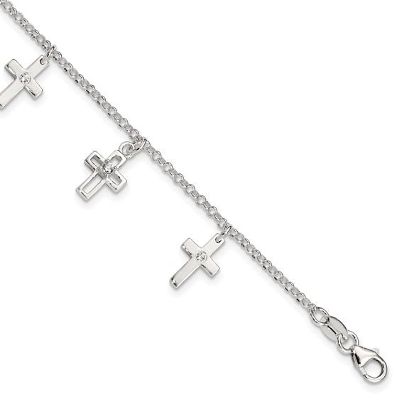 Sterling Silver 6in CZ Cross Children's Bracelet