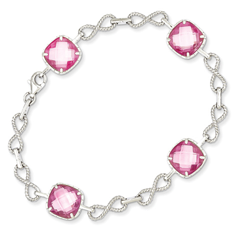 7 1/4in Sterling Silver CZ Pink Checkerboard Bracelet