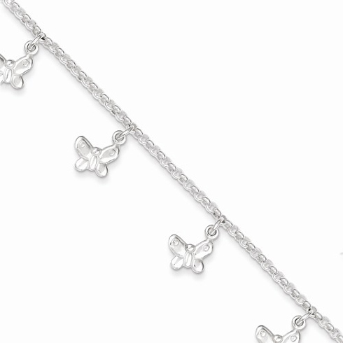 Sterling Silver 6in Polished Butterfly Dangle Charm Bracelet