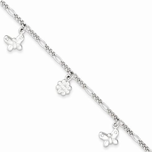 Sterling Silver 6in Butterflies and Flowers Bracelet