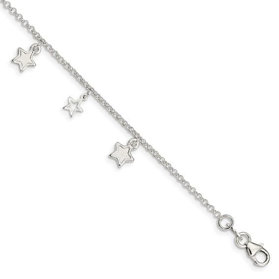 Sterling Silver 6in Polished Star Bracelet