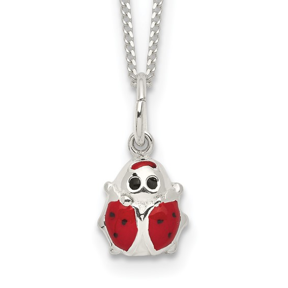 Sterling Silver Glitter Ladybug 14in Necklace