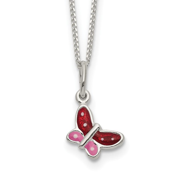 Sterling Silver 14in Red and Pink Enamel Butterfly Necklace