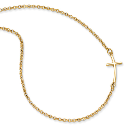 Gold Plated Sterling Silver 5/8in Curved Sideways Cross 18in Necklace