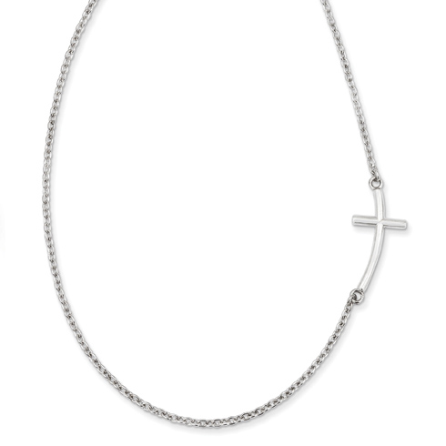 Sterling Silver 1in Sideways Curved Cross 18in Necklace