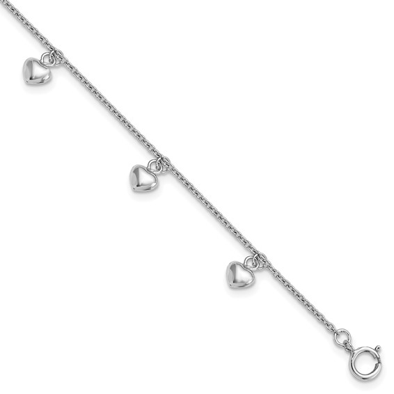 Rhodium-plated Sterling Silver 6in Child's Dangling Hearts Bracelet