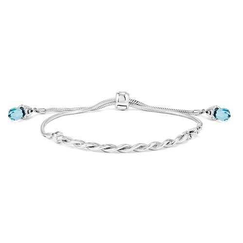 Silver Reflections Adjustable Bar Blue Swarovski Bracelet