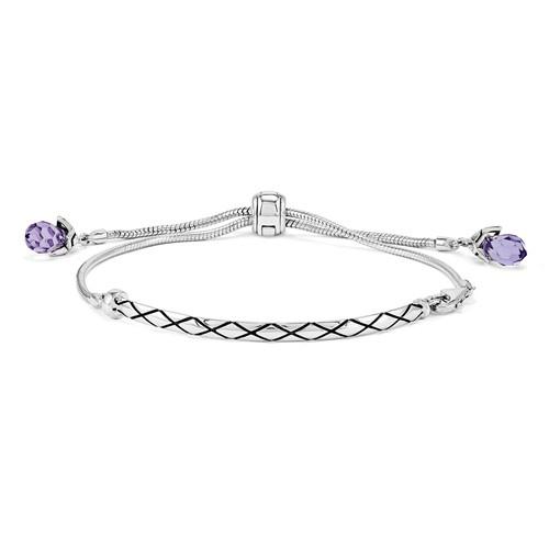 Sterling Silver Reflections Adjustable Antiqued Bar Bracelet with Purple Swarovski Elements
