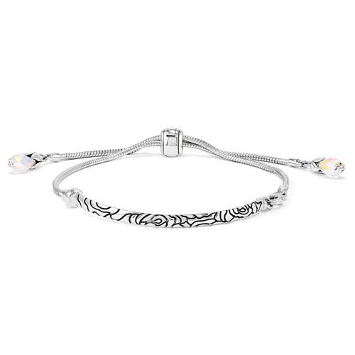 Silver Reflections Adjustable Antiqued Bar  Pink Swarovski Bracelet