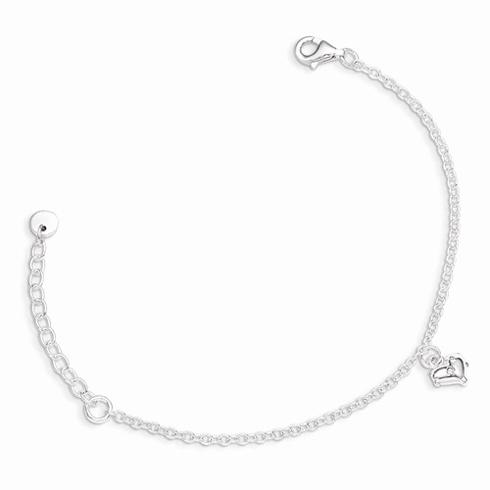Sterling Silver 5 1/2in Children's Heart Bracelet